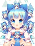 >_< 6+girls :3 :d ;d =_= ahoge blue_eyes blue_hair bow chibi chibi_on_head chibi_on_shoulder cirno closed_eyes eyebrows_visible_through_hair facing_viewer grin hair_bow ice ice_wings looking_at_viewer minigirl multiple_girls multiple_persona on_head on_shoulder one_eye_closed open_mouth person_on_head pjrmhm_coa short_hair short_sleeves sleeping smile touhou triangle white_background white_sleeves wings