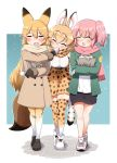 3girls :d ^_^ absurdres animal_ears bag bangs baozi black_footwear black_gloves black_shorts blonde_hair blush brown_coat brown_scarf closed_eyes coat commentary cross-laced_footwear eating elbow_gloves eyebrows_visible_through_hair ezo_red_fox_(kemono_friends) facing_another facing_viewer feeding food fox_ears fox_tail fringe_trim frown gloves green_jacket grocery_bag hand_on_another's_shoulder high-waist_skirt highres holding holding_bag jacket japari_symbol kemono_friends loafers long_hair miniskirt mouth_hold multiple_girls nana_(kemono_friends) ngetyan open_mouth outline outside_border pink_hair pink_scarf print_gloves print_scarf print_skirt scarf serval_(kemono_friends) serval_ears serval_print serval_tail shirt shoes shopping_bag short_hair shorts side_ponytail skirt sleeveless smile snow standing stone_floor sweatdrop tail thigh-highs white_footwear white_outline white_shirt winter_clothes yellow_legwear yellow_scarf yellow_skirt