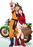 1boy 1girl black_hair boots breasts chi-chi_(dragon_ball) dougi dragon_ball dragon_ball_(classic) harumaki long_hair muscle open_mouth short_hair smile son_gokuu spiky_hair wristband