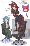 +++ 3girls :d alternate_costume animal_ear_fluff animal_ears april_fools balancing black_footwear blue_eyes blue_hair bow brown_hair chair collared_shirt contemporary english_text eyebrows_visible_through_hair floating_head grass_root_youkai_network grimace hair_bow head_fins high_heels imaizumi_kagerou indoors long_hair long_sleeves looking_at_another mermaid monster_girl multiple_girls necktie office office_chair office_lady open_mouth pantyhose pencil_skirt red_eyes redhead sekibanki shaking shirt short_hair skirt smile speech_bubble tail thigh-highs touhou v-shaped_eyebrows vest wakasagihime wolf_ears wolf_tail wool_(miwol)