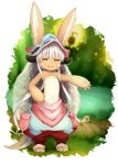 1girl absurdres animal_ears barefoot dog_tail furry hand_on_hip helmet highres horns long_hair made_in_abyss nanachi_(made_in_abyss) outdoors outstretched_arm pants paws pouch rabbit_ears renroujiang silver_hair smile solo tail topless water whiskers yellow_eyes