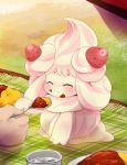 ^_^ alcremie closed_eyes creature curry curry_rice dagashi_(daga2626) eating feeding food fruit gen_8_pokemon highres holding holding_spoon pokemon pokemon_(creature) rice solo_focus spoon strawberry