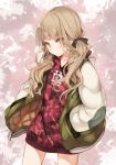 1girl angry bangs black_ribbon blood blood_splatter blunt_bangs blush brown_eyes brown_hair closed_mouth eyebrows_visible_through_hair eyes_visible_through_hair hair_ribbon hand_in_pocket hood hoodie jacket keyhole little_red_riding_hood_(sinoalice) lock long_hair long_sleeves looking_at_viewer open_clothes open_jacket padlock reality_arc_(sinoalice) red_hoodie ribbon sinoalice solo standing teroru wavy_hair
