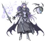 1girl absurdres armor black_dress black_gloves blue_eyes capelet closed_mouth crown demon_wings dress fire floating floating_weapon fur_trim gloves grey_capelet grey_scarf high_heels highres kan_(aaaaari35) long_hair low_wings monster open_mouth original purple_fire purple_hair scarf simple_background sketch slit_pupils sword weapon white_background wings yellow_eyes