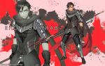 1boy armored_boots artist_name black_gloves black_hair boots character_name gloves lance male_focus original personification polearm ponytail red_background red_eyes rhongomyniad rosel-d solo touken_ranbu weapon