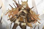 1girl animal_ears arknights belt black_coat black_dress blonde_hair boots brown_footwear brown_legwear ceobe_(arknights) closed_mouth coat cross-laced_footwear day dog_ears dog_tail dress floating_hair grey_sky koio long_hair long_sleeves looking_at_viewer multiple_weapons one_eye_closed ore_lesion_(arknights) outdoors red_eyes science_fiction short_dress solo staff sword tactical_clothes tail thigh-highs thigh_boots thighs weapon weapon_on_back