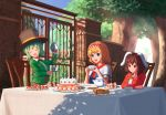 3girls :3 :d adapted_costume aletto-mikan alice_in_wonderland alice_margatroid alternate_costume animal_ears arm_rest arm_up ascot black_vest blazer blonde_hair blue_dress blue_eyes bow bowtie breast_pocket breasts brick_wall brown_hair buttons cake capelet chair checkerboard_cookie clear_sky closed_eyes closed_mouth commentary cookie cosplay cup day decantering dishes dress english_commentary floppy_ears food frilled_hairband frills fruit gate green_hair green_jacket hairband hand_on_own_cheek handkerchief hands_up hat hat_bow hat_ribbon head_rest head_tilt heart holding holding_cup holding_teapot inaba_tewi iron_bars jacket komeiji_koishi light_blush light_rays lolita_hairband long_sleeves mad_hatter mad_hatter_(cosplay) march_hare march_hare_(cosplay) medium_hair moss multiple_girls open_clothes open_jacket open_mouth outdoors overexposure pancake pastry plant pocket pouring rabbit_ears red_bow red_eyes red_hairband red_jacket red_neckwear ribbon saucer shade shadow shiny shiny_hair shirt short_hair sky slice_of_cake smile strawberry sunbeam sunlight sweets swiss_roll syrup table tablecloth tea tea_party tea_set teacup teapot top_hat touhou tree tree_shade upper_body vest vines waistcoat wall whipped_cream white_capelet white_shirt wing_collar yellow_bow yellow_ribbon