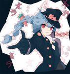 1girl animal_ears bakadebiru blue_hair carrot chain cosplay hololive jojo_no_kimyou_na_bouken kuujou_joutarou rabbit_ears red_eyes stardust_crusaders usada_pekora