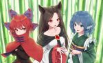 3girls :d animal_ears bamboo bamboo_forest bangs black_hair black_shirt blue_eyes blue_hair bow breasts brooch capelet collarbone commentary_request crossed_arms dress drill_hair eyebrows_visible_through_hair forest frilled_sleeves frills grass_root_youkai_network green_kimono hair_bow head_fins high_collar highres imaizumi_kagerou japanese_clothes jewelry kimono long_hair long_sleeves looking_at_viewer medium_breasts multiple_girls nail_polish nature obi open_mouth purple_bow purple_sash red_capelet red_eyes red_nails redhead ribbon-trimmed_bow ribbon_trim sash sekibanki shirt short_hair small_breasts smile torinari_(dtvisu) touhou touhou_cannonball upper_body wakasagihime white_dress wide_sleeves wolf_ears