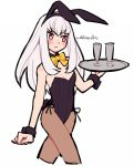 1girl alternate_costume animal_ears artist_name black_leotard blush bow closed_mouth do_m_kaeru fake_animal_ears fire_emblem fire_emblem:_three_houses glass holding holding_tray leotard long_hair lysithea_von_ordelia pantyhose pink_eyes rabbit_ears simple_background solo tray white_background white_hair wrist_cuffs yellow_bow