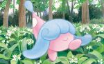 closed_mouth commentary creature day english_commentary flower full_body gen_8_pokemon hatenna multiple_sources nakai_mina no_humans official_art outdoors pokemon pokemon_(creature) pokemon_trading_card_game smile solo third-party_source tree