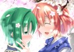 2girls absurdres bangs blush cherry_blossoms closed_eyes commentary_request face-to-face from_side green_eyes green_hair highres multiple_girls no_headwear onozuka_komachi open_mouth petals profile redhead shiki_eiki short_hair smile touhou twitter_username yuri yuuki_eishi