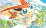 akitsu_taira blue_eyes commentary creature day english_commentary fangs full_body gen_5_pokemon house looking_at_viewer multiple_sources no_humans official_art outdoors pokemon pokemon_(creature) pokemon_trading_card_game scenery solo third-party_source tower victini window