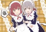 2girls :d absurdres apron bangs brown_eyes diamond_(shape) embarrassed eyebrows_visible_through_hair grey_hair hair_ribbon highres holding_another's_arm koisuru_asteroid lace looking_at_another maid maid_apron maid_dress maid_headdress medium_hair morino_mari multiple_girls official_art open_mouth outline plaid plaid_background red_eyes red_ribbon redhead ribbon sakurai_mikage sawai_shun smile spoken_squiggle squiggle star waitress wavy_mouth yuri