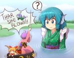 3girls ? afloat ahoge blue_eyes blue_hair blush bow bowl commentary drill_hair english_commentary english_text fang hair_bow head_fins holding_needle horn_ribbon horns ibuki_suika japanese_clothes kimono lake long_hair mermaid minigirl moby_dick monster_girl multiple_girls needle obi orange_hair parody purple_hair ribbon sash seasick short_hair sick smile spoken_question_mark sukuna_shinmyoumaru touhou turn_pale wakasagihime water wet whale wide_sleeves wool_(miwol)