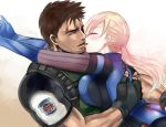 1boy 1girl blonde_hair blush breasts chris_redfield fingerless_gloves gloves hetero hug imminent_kiss jill_valentine large_breasts long_hair nagare ponytail resident_evil resident_evil_5