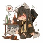 1girl alcohol animal animal_ears armband artist_request black_hair black_legwear black_skirt blonde_hair blush bottle closed_eyes closed_mouth drunk eyepatch girls_frontline heart jacket long_hair long_sleeves m16a1_(girls_frontline) necktie simple_background sitting skirt spoken_heart table tail wariza white_background wolf wolf_ears wolf_tail