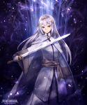 1girl cape copyright_name hair_ornament holding holding_sword holding_weapon long_hair long_sleeves masaki_(monster) outdoors pixiv_fantasia pixiv_fantasia_age_of_starlight purple_empress_ranrei silver_hair solo standing sword violet_eyes weapon white_cape wide_sleeves