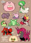 :3 absurdres bisharp black_eyes chansey chikorita closed_eyes commentary egg english_commentary english_text fangs gardevoir gen_1_pokemon gen_2_pokemon gen_3_pokemon gen_5_pokemon gen_6_pokemon goomy highres no_humans pokemon pokemon_(creature) rariatto_(ganguri) red_eyes reuniclus scizor scolipede simple_background sitting standing twitter_username weezing whimsicott yellow_eyes
