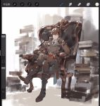 1boy black_gloves black_hair blue_neckwear book book_stack boots chair closed_mouth code_vein crossed_legs gloves hair_over_one_eye loladestiny louis_(code_vein) male_focus necktie open_book red_eyes resting sitting sketch solo