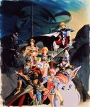 1990s_(style) 3girls 4boys armor armored_boots black_hair blonde_hair blue_hair boots cape cape_lift capelet creature dragon gloves grin hand_on_hip headband highres holding holding_polearm holding_sword holding_weapon legend_of_xanadu long_hair looking_at_viewer mountain multiple_boys multiple_girls naoyuki_onda official_art pauldrons pink_hair pink_legwear short_hair shorts skirt smile standing sword thigh-highs tower weapon white_skirt zettai_ryouiki