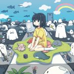 1girl :i black_eyes black_hair book broom camera commentary computer cross facial_hair fish flower ghost glasses highres laptop mountain mustache nintendo_switch original painting_(object) rainbow reading short_hair sitting sleeping stuffed_toy sweatdrop sweeping symbolism wariza yomoi_nui