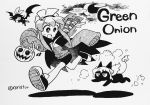 1girl :d absurdres aldegon_(rariatto) bat bike_shorts black_cat blush candy cape cat commentary_request crescent_moon english_commentary flying food greyscale hair_over_one_eye hairband halloween_costume hands_up highres holding ink_(medium) inktober jack-o'-lantern konegi_(rariatto) long_sleeves mixed-language_commentary monochrome moon one_eye_covered open_mouth original rariatto_(ganguri) running shoes sleeves_past_fingers sleeves_past_wrists smile solo traditional_media twitter_username very_long_sleeves wings zakuro_(rariatto)