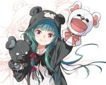1girl agahari animal_costume animal_ears animal_hood arm_up bangs bear_costume bear_ears bear_hood blush check_commentary commentary_request eyebrows_visible_through_hair foreshortening green_hair hair_ribbon hand_puppet hand_up hood hood_up kuma_kuma_kuma_bear long_hair long_sleeves looking_at_viewer outstretched_arm puppet reaching_out red_eyes red_ribbon ribbon simple_background smile solo teeth upper_body v-shaped_eyebrows very_long_hair white_background yuna_(kuma_kuma_kuma_bear) zoom_layer