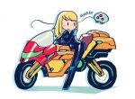 1girl adapted_object biker_clothes bikesuit blonde_hair blush_stickers ground_vehicle highres long_hair metroid metroid_(creature) motor_vehicle motorcycle on_motorcycle rariatto_(ganguri) samus_aran simple_background solid_oval_eyes white_background