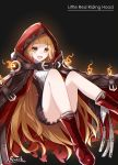 1girl absurdres artist_name bangs bare_legs bee_doushi belt belt_buckle black_background blonde_hair blunt_bangs boots brown_belt buckle cape character_name dress eyebrows_visible_through_hair fire highres hood hood_up hooded_cape little_red_riding_hood_(sinoalice) long_hair looking_at_viewer open_mouth red_cape red_footwear red_hood short_dress simple_background sinoalice solo wavy_hair yellow_eyes