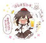 /\/\/\ 1girl :d ^_^ alcohol bangs beer black_hair black_neckwear black_skirt black_wings blush breasts chibi closed_eyes collared_shirt commentary_request cup drinking_glass eyebrows_visible_through_hair floral_background hair_between_eyes hat highres holding holding_cup low_wings mini_hat mini_wings open_mouth pleated_skirt pom_pom_(clothes) red_headwear shameimaru_aya shirt short_sleeves skirt small_breasts smile solo thumbs_up tokin_hat totoharu_(kujirai_minato) touhou translation_request white_shirt wings