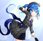 1girl arm_up bangs beret black_gloves blue_bow blue_eyes blue_hair blue_nails blush bow commentary_request crown dress eyebrows_visible_through_hair gloves gradient_hair grey_dress grey_headwear grin hair_between_eyes hat hoshimachi_suisei leaning_forward long_hair long_sleeves mini_crown misui multicolored_hair nail_polish partly_fingerless_gloves plaid plaid_dress plaid_hat pleated_dress side_ponytail smile solo suisei_channel v_over_eye virtual_youtuber
