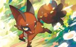 commentary creature english_commentary flower full_body gen_8_pokemon multiple_sources nickit no_humans official_art pokemon pokemon_(creature) pokemon_trading_card_game saitou_naoki solo third-party_source yellow_eyes