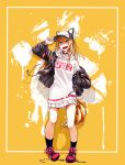 1girl animal_ears baseball_cap black_jacket blonde_hair blue_eyes bokkusu dog_ears dog_tail hat jacket kmnz long_hair looking_at_viewer mc_lita open_clothes open_jacket open_mouth shoes smile sneakers solo tail virtual_youtuber