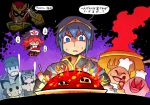 1girl 5boys blue_hair captain_falcon chef_hat chef_kawasaki eating empty_eyes evil_smile f-zero fire fire_emblem flamberge_(kirby) gen_2_pokemon hat hot_sauce kirby kirby:_right_back_at_ya kirby:_star_allies kirby_(series) mario_(series) marth_(fire_emblem) metal_gear_(series) metal_gear_solid multiple_boys partially_translated pichu pokemon pokemon_(creature) pot rariatto_(ganguri) red_eyes skull smile solid_snake super_smash_bros. sweat translation_request wario warioware