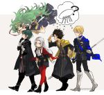 2girls 3boys ankle_boots armor black_gloves blonde_hair blue_cape blue_eyes blue_hair boots braid brown_hair byleth_(fire_emblem) byleth_(fire_emblem)_(male) cape claude_von_riegan commentary crossed_arms dimitri_alexandre_blaiddyd dress edelgard_von_hresvelg feyyyyyyk fire_emblem fire_emblem:_three_houses from_side garreg_mach_monastery_uniform gloves green_eyes green_hair grey_background hair_ornament highres holding key keychain knee_boots long_hair long_sleeves multiple_boys multiple_girls open_mouth pantyhose polearm red_cape red_legwear ribbon_braid short_hair simple_background sothis_(fire_emblem) tiara twin_braids twitter_username uniform violet_eyes weapon white_gloves white_hair yellow_cape