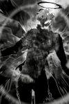 1boy abec cowboy_shot greyscale highres male_focus monochrome novel_illustration official_art solo subtilizer_(sao) sword_art_online wings