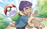 1boy blue_sky clouds cloudy_sky commentary day english_commentary hop_(pokemon) male_focus multiple_sources official_art outdoors poke_ball poke_ball_(generic) pokemon pokemon_(game) pokemon_swsh pokemon_trading_card_game sakuma_sanosuke sky third-party_source throwing throwing_poke_ball