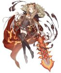 1girl animal_ears belt blonde_hair boots cloak cloak_lift corset fake_animal_ears full_body fur_trim grin hairband hood hood_down hooded_cloak ji_no little_red_riding_hood_(sinoalice) lock long_hair looking_at_viewer official_art orange_eyes padlock sinoalice smile solo sword thigh-highs thigh_boots transparent_background weapon
