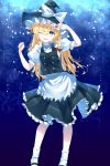 1girl ;d alternate_eye_color apron arms_up black_footwear black_skirt black_vest blonde_hair blue_background blue_eyes braid commentary contrapposto feet_out_of_frame gradient gradient_background hair_between_eyes hair_ribbon hand_on_own_forehead hat hat_ribbon highres kirisame_marisa kisamu_(ksmz) leaning_to_the_side long_hair one_eye_closed open_mouth petticoat puffy_short_sleeves puffy_sleeves ribbon shirt short_sleeves single_braid skirt smile socks solo standing star starry_background touhou tress_ribbon upper_teeth v very_long_hair vest waist_apron white_legwear white_shirt witch_hat