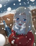 1girl absurdres alcohol beach black_gloves blonde_hair blue_eyes blurry blurry_foreground blush bottle clara_(girls_und_panzer) coat commentary depth_of_field english_text fur_scarf girls_und_panzer gloves highres holding holding_bottle hyunjjing long_hair long_sleeves looking_at_viewer open_mouth red_coat smile snow solo standing toggles vodka