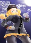 1girl black_legwear blonde_hair blue_eyes bokkusu breasts clouds gloves hat kolin looking_at_viewer pantyhose scarf solo street_fighter street_fighter_v winter_clothes