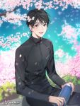 1boy :d artist_name bishounen black_eyes black_hair black_jacket black_pants blue_sky blurry blurry_background blush branch cherry_blossoms clouds cloudy_sky commentary day depth_of_field eyebrows_visible_through_hair fingernails flower gearous grass happy highres holding holding_thermos jacket katsuki_yuuri lips looking_at_viewer male_focus open_mouth outdoors pants petals pink_flower sitting sky smile spring_(season) symbol_commentary teeth thermos track_jacket track_pants tree_branch upper_body upper_teeth wind wind_lift yuri!!!_on_ice
