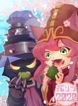 animal_ears blue_sky blush cherry_blossoms clouds dated eating fingernails flower gauntlets glowing glowing_eyes green_eyes hat highres holding large_hat leaf league_of_legends long_hair lulu_(league_of_legends) nnntarpe open_mouth outdoors petals pink_flower sky smile spikes teeth tongue turtleneck upper_body upper_teeth veigar yellow_eyes