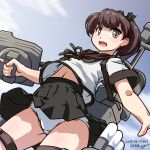 1girl 547th_sy adapted_turret artist_name black_sailor_collar black_skirt blue_sky brown_eyes brown_hair cannon clouds commentary_request dated dutch_angle highres kantai_collection machinery original_remodel_(kantai_collection) panties ponytail sailor_collar school_uniform serafuku shikinami_(kantai_collection) short_hair skirt sky solo turret underwear white_panties