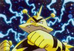 clenched_hands closed_mouth commentary creature electabuzz electricity english_commentary face fangs gen_1_pokemon horns multiple_sources no_humans official_art pokemon pokemon_(creature) pokemon_trading_card_game solo sugimori_ken third-party_source