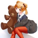 1girl animal_ears arknights bear_ears black_jacket blonde_hair blue_dress candy_hair_ornament candy_wrapper commentary_request dress feet_out_of_frame food_themed_hair_ornament gummy_(arknights) hair_ornament hairclip highres jacket long_sleeves looking_at_viewer neckerchief object_hug off_shoulder open_clothes open_jacket pantyhose parted_lips red_eyes red_legwear rukinya_(nyanko_mogumogu) sailor_collar sailor_dress sitting sleeves_past_wrists solo stuffed_animal stuffed_toy teddy_bear twintails white_background white_neckwear white_sailor_collar