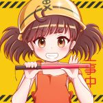 1girl apron background_text bangs bare_arms bare_shoulders blush brown_apron brown_eyes brown_hair commentary_request diagonal_bangs diagonal_stripes goth_risuto grin hands_up hardhat helmet holding looking_at_viewer smile solo sound_voltex strap_slip striped striped_background traffic_baton translation_request twintails upper_body v-shaped_eyebrows yamashina_kanade yellow_background yellow_headwear