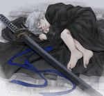 1boy blanket child closed_eyes devil_may_cry devil_may_cry_4 eyebrows_visible_through_hair fingernails fog hair_between_eyes highres injury katana lying male_focus on_floor on_side outdoors parted_lips scratches sheath sheathed sleeping solo sword toenails weapon white_hair yse5959