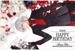 1boy antonio_salieri_(fate/grand_order) black_gloves cup dated fate/grand_order fate_(series) food formal from_above fruit gloves grey_hair happy_birthday ink lying male_focus pinstripe_suit pomegranate quill red_eyes sheet_music sindri solo spill striped suit teacup